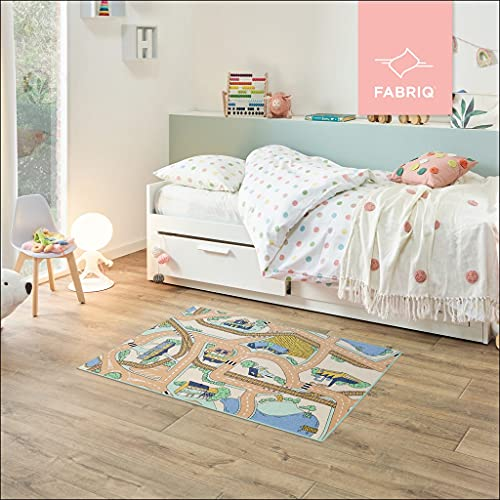 Fabriq Spielteppich Straße, Anti-Rustch Kinderteppich für Jungen und Mädchen, Autoteppich für Kinderzimmer & Spielzimmer, 30°C waschbar, 95x133cm, Desert Mist