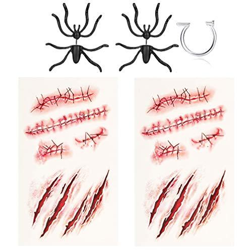 Milacolato Decoración de Halloween 3D Espeluznante Black Spider Ear Stud Pendientes Zombie Scars Tatuajes con Costra Falsa Maquillaje de Sangre Anillo de Dedo Aterrador