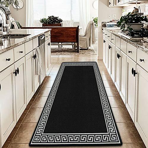 Felpudo resistente, antideslizante, lavable, para interiores y exteriores, alfombra para decoración del hogar, dormitorio, sala de estar, accesorios (gris oscuro y crema, 80 x 300 cm, largo camino)