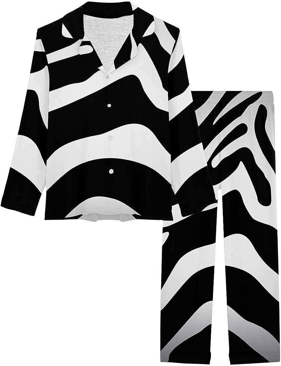 InterestPrint Long Sleeve Button Down Nightwear with Long Pants Zebra Texture Background