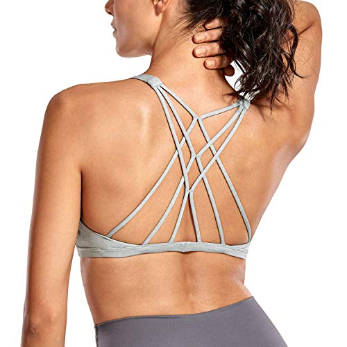 CRZ YOGA Donna Reggiseno Sportivo Yoga Imbottite Rimovibili Multi Strap Heather Multi 3 S
