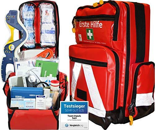 PROFI Erste Hilfe Notfallrucksack Betriebssanitäter aus Plane mit aut. Blutdruckmessgerät von Team Impuls