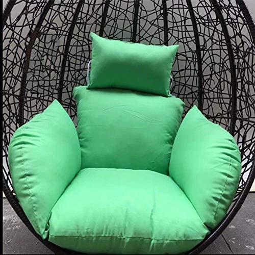 Silla de ratán, cojín para hamaca, cojín para colgar silla, hamaca, columpio para pájaros, asiento acolchado de poliéster, acolchado de mimbre, cesta de ratán con cojín para patio al aire libre, color marrón claro, verde