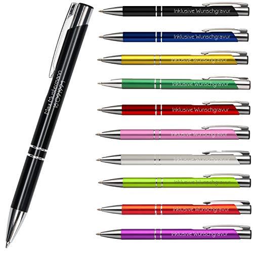 Premium Qualität - Personalisierter Kugelschreiber mit Gravur | Stift mit Name Einzeilig oder Zweizeilig Lasergravur (Schwarz)