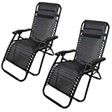 SA Products Set of 2 Reclining Zero Gravity Chairs - Sun Loungers Made