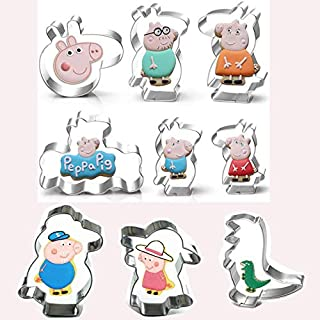 Pig sister and her family stainless steel biscuit cut fruit cutting set baking household 9 piece set (pig family member)