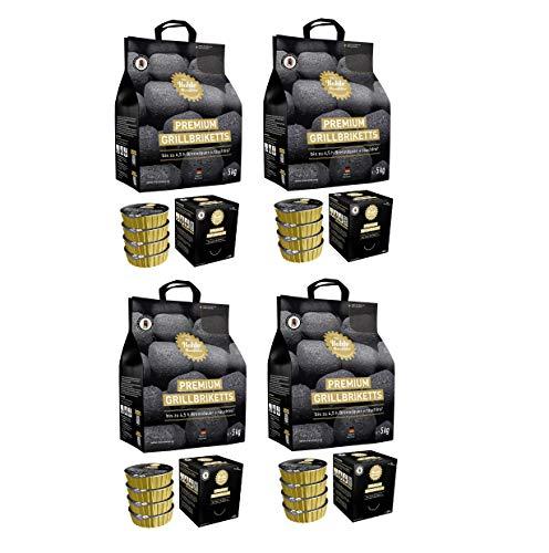 Gartenwelt Riegelsberger Kohle Manufaktur Premium Grillbriketts rauchfrei* bis zu 4,5 Std. Brenndauer Made in Germany 4X 5 kg Set inkl. Brennpaste 4X 200gr