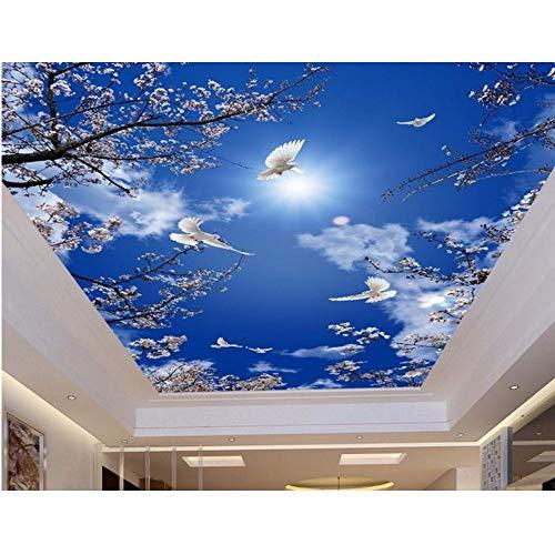 Lvabc Aangepaste 3D Plafond Ls Cherry Blue Sky Duiven Behang voor Badkamer 3D Plafond Ls Schilderen Behang Op Het Plafond-200X140Cm