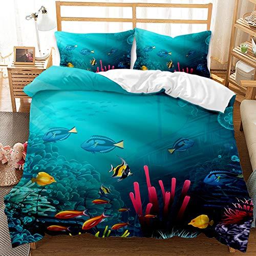 YIUA Funda nórdica para animales marinos, azul, tortuga marina, estampado 3D, ropa de cama infantil y juvenil (G,220 x 240 cm)