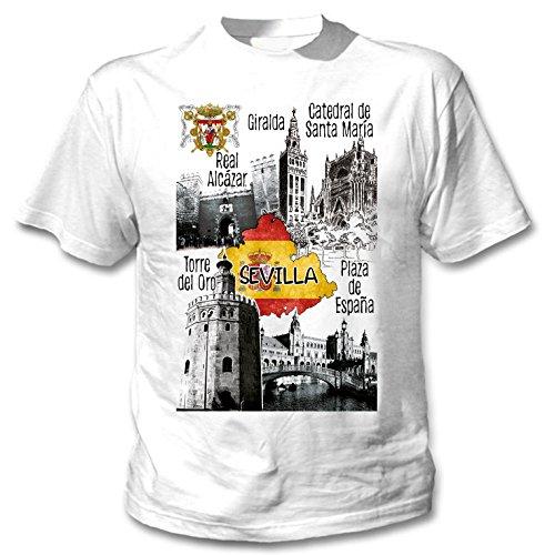 teesquare1st Sevilla Spain Camiseta Blanca para Hombre de Algodon Size Xxlarge