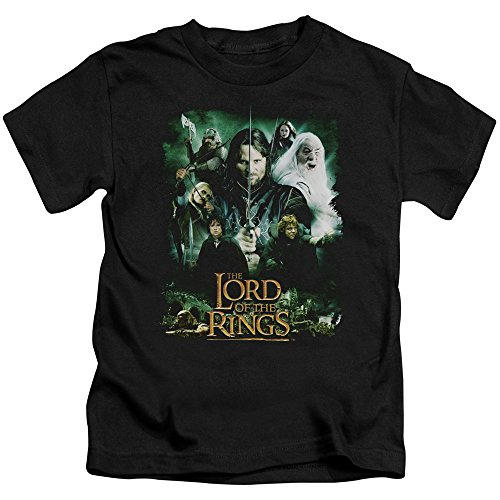 Lord of The Rings Hero Group Unisex Youth Juvenile T-Shirt for Girls and Boys, Small (4) Black