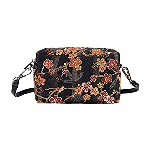 Signare Tapestry Small Crossbody Bag for Women with Designs Inspired by V&A Collections (Ume Sakura; HPBG-SAKURA)