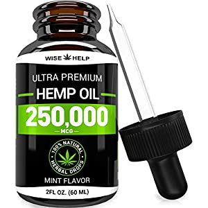 Hemp Oil Drops 250,000 – Made in USA – Anxiety & Stress Relief – Optimum Absorption & BIOAvailability – Natural Supplement for Sleep, Immune & Mood Support – Omega 3-6-9 – Mint Flavor