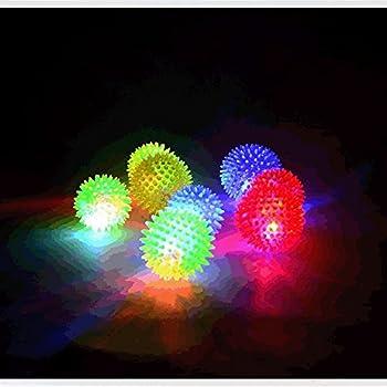 Lot de 6balles lumineuses - Jouets pour chien - Élastiques - Emettent des couinements - Petite taille: 6,3cm