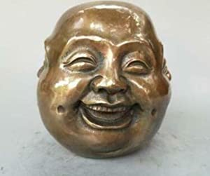 THREE Estatua del Busto de Bronce Tallado en 4 Caras, Feliz Buda Enojado, Triste, Enojado, Dorado