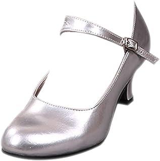 BOZEVON Women's PU Mirror Leather Kitten Heel Tango Ballroom Latin Waltz Dance Glitter Shoes