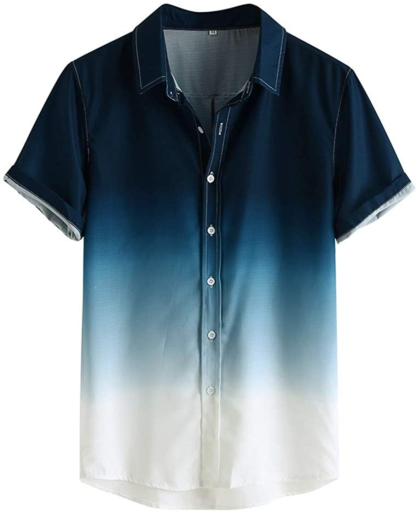 Mens Short Sleeve Button Down Gradient T Shirt Casual Loose Fit Turn-Down Collar Breathable Blouse Tops