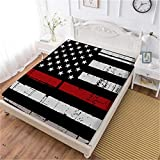 Oliven Fitted Sheet Twin Size Red Black American Flag Printed Breathable Bed Sheet 1 Piece Deep Pocket Sheet