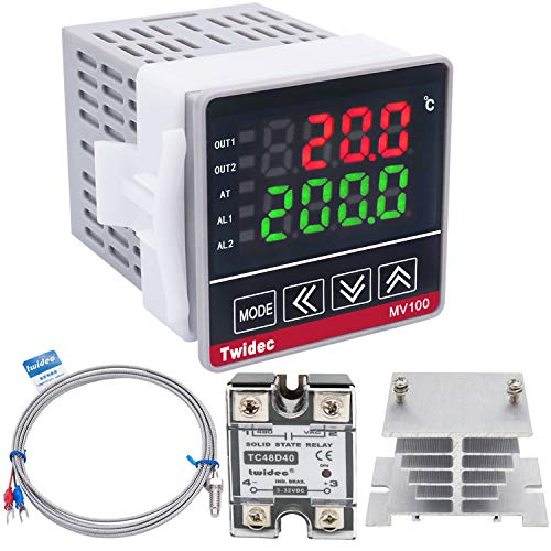 Twidec/ MV100-B10 Digital Display PID Temperature Controllers Thermostat Regulator AC 85V - 265V + K Sensor Thermocouple + Heat Sink and Solid State Relay SSR 40 DA