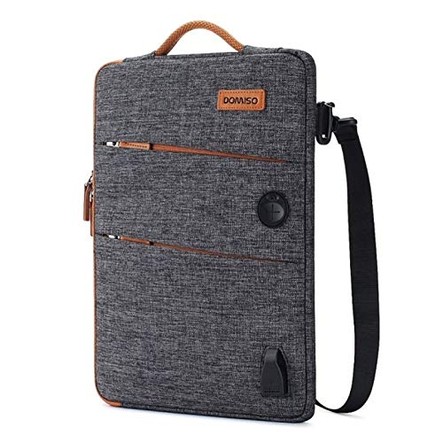 11 13 14 15.6 17.3 Inch Waterproof Laptop Bag Polyester with USB Charging Port Headphone Hole for Lenovo Acer HUAWEI HP (Color : Drak Grey, Size : 17 inch)