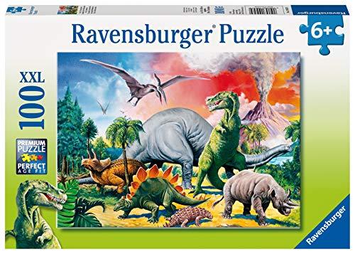Ravensburger Puzzle per Bambini, 100 Pezzi, Dinosauri, Dimensione Puzzle: 49x36 cm, Puzzle per Bambini a Partire dai 6 Anni, 4005556109579