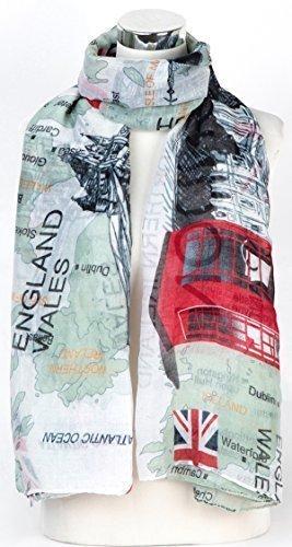 Souvenirs De Londres Mode carte du Royaume-Uni imprimé Paréo De Châle Foulard Wrap Blanc