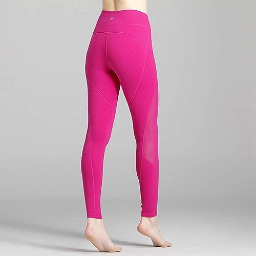 grist CC Pantalons De Yoga Leggings Femme Pantalon De Sport Fitness Exercice Leggings Séchage Rapide Rose Rouge,L