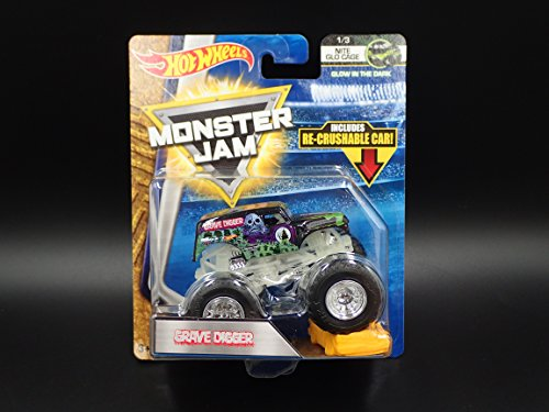Hot Wheels Grave Digger Monster Jam NITE GLO CAGE 1/3 w/ RE-Crushable CAR - 2018
