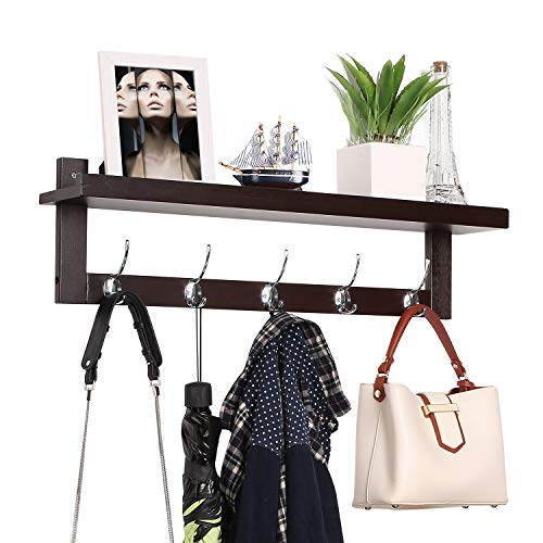 Homfa Bamboo Entryway Wall Shelf Hanging Shelf 29 in L, Wall-Mounted Coat Hook Rack with 5 Dual Metal Hooks for Hallway, Bathroom, Living Room, Bedroom, Dark Brown