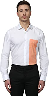 Park Avenue Full Sleeve Ainsley Collar Slim Fit White Cotton Solid Shirt for Men
