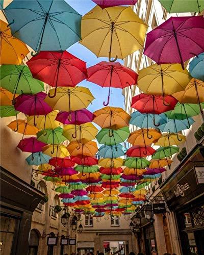 SDHJMT Holzpuzzle für Kinder 1000-teilige farbige Regenschirme Kreatives Kreuzworträtselspiel Modern Home Decoration Einzigartiges Geschenk