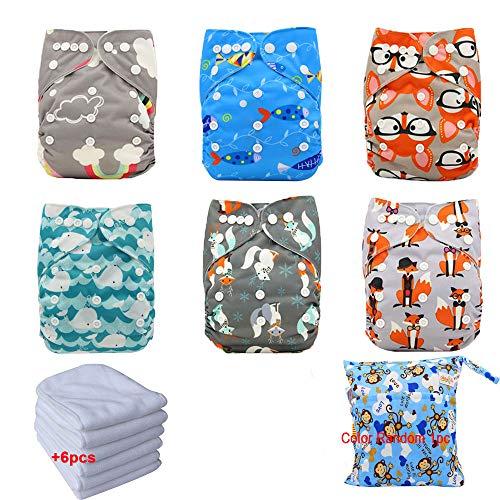 Ohbabyka Reusable Washable Baby Boys/Girls Pocket Cloth Diapers with 1pc Insertohbabyka Wiederverwendbare Unisex Baby Tuch Pocket Windeln All in One mit 1?weichen Tuch inneren,6pcs-7