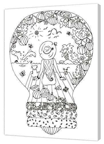 Pintcolor 7823.0 châssis avec Toile imprimée à colorier, Bois de Sapin, Blanc/Noir, 40 x 50 x 3,5 cm