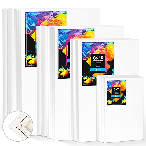 Canvas Boards for Painting 36 Pack,White Blank Cotton Stretched Canvas,Art Canvases for Painting,Painting Canvas,5x7, 8x10, 9x12, 11x14 Inches,Painting Canvas Value Packs for Acrylic,Watercolor,Oil