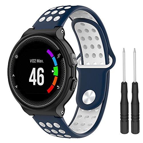 Pulseira extra para Relógio Garmin Forerunner modelos 230 235 220 620 630 735 (com chave para troca) (Azul com branco)