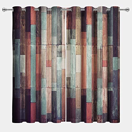 VERTKREA Wooden Window Curtain, Wood Window Curtains, Planks Curtains, Hardwood Drapes for Room, Set of 2 Panels, 52 x 63 Inches