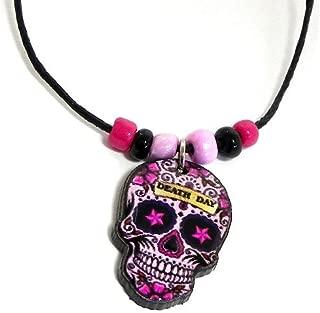 Mia Jewel Shop Sugar Skull Day of The Dead Pendant Beaded Necklace