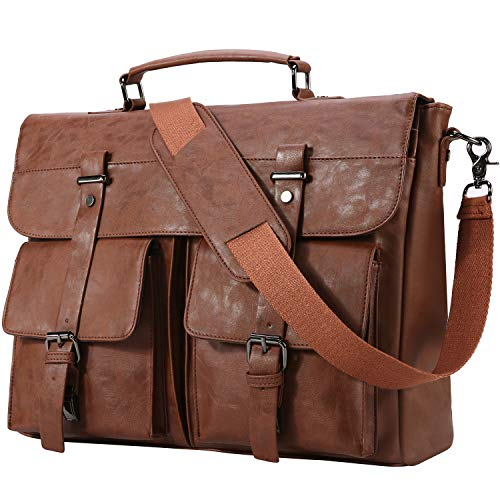 Leather Messenger Bag for Men,15.6 Inch Vintage Laptop Bag Briefcase Satchel