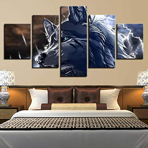 Gxucoa 5 Piece Set Canvas Print Wall Art Decoration Abstract 3D Wolf Animal Home Decor Hd Printed Canvas Wall Art Pictures 5 Pieces