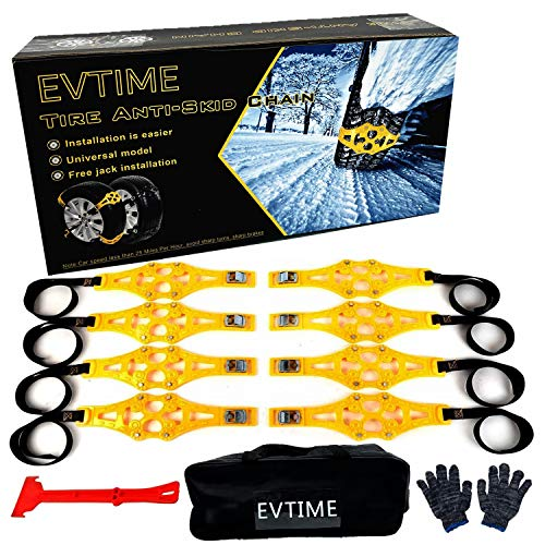"""EVTIME Tire Chains Snow Chains for Cars/SUV/Truck/ATV Anti-Skip for Safety Emergency Ice Snow Mud Sand with 2019 Upgrade TPU Width 6.5""""-10.8""""(165mm-275mm)(8 Pack)"""