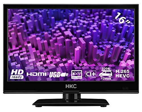 HKC 16M4: 39,6 cm (16 Zoll) LED-Fernseher (HD-Ready, Triple Tuner, CI+, Mediaplayer USB 2.0, 12V Kfz-Ladegerät) [Energieklasse A+]