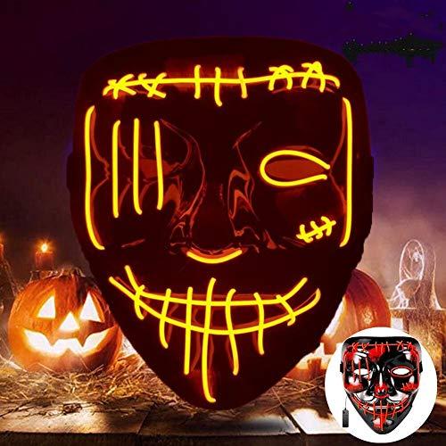SunAurora Mascara LED Halloween, Mascaras Neon, Esqueleto Mascaras con 3 Modos de...