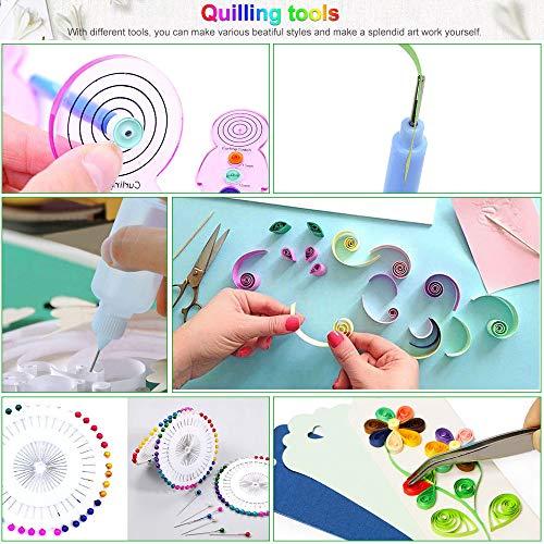 15 STÜCKE Papier Quilling Kits mit 29 Farben 600 Streifen Quilling Papier DIY Design Zeichnung Handwerk Werkzeug, Papierbreite 5mm
