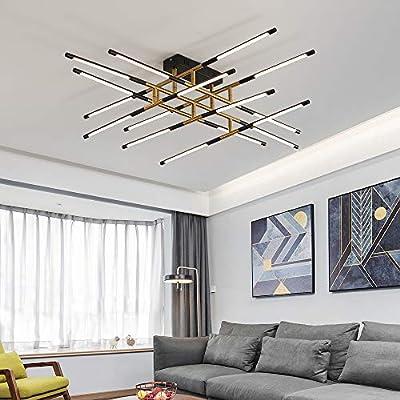 FangYanMei Modern Pendant Light Led Stick Chandelier Black and Gold Industrial Chandelier Decorative Lighting for Restaurants and cafes Indoor Vintage Chandelier Close to Ceiling Light 47.6IN 4000K