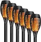 2 lámparas de llama solar, resistentes al agua, antorcha solar, lámpara solar de encendido/apagado automático para patios traseros, jardines, iluminación de césped