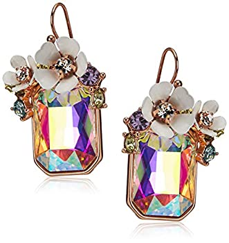 Betsey Johnson Flower Rectangle Stone Drop Earrings