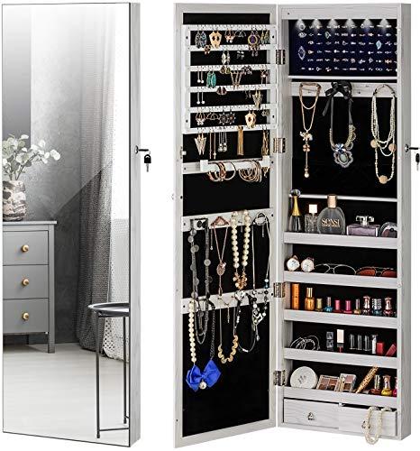 YOKUKINA Jewelry Mirror Armoire Cabinet Large Storage Organizer wLED Light Door-HangingWall-Mounted Lockable White