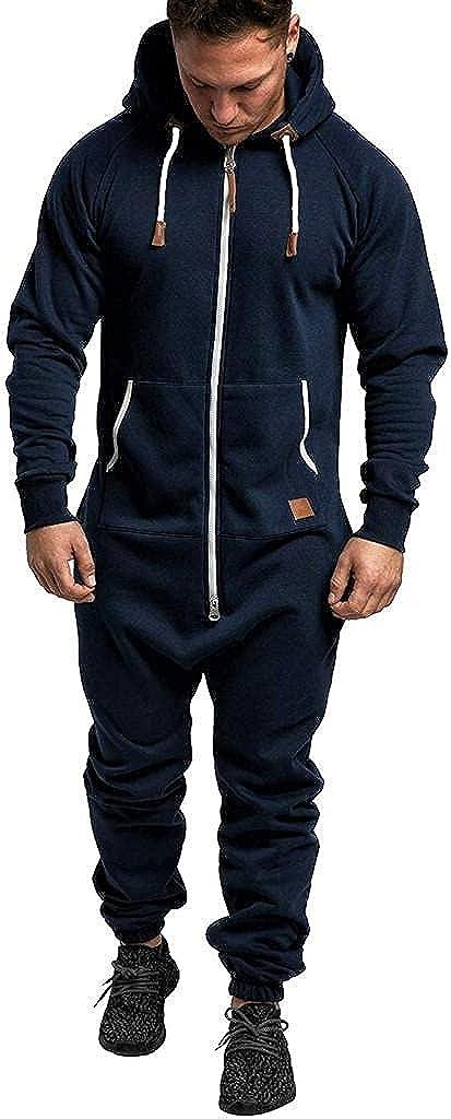 FUNEY Men's Unisex Onesie Hooded Jumpsuit Zip Up One Piece Pajamas Playsuit Drawstring Jogger Sweatsuit Overall Romper