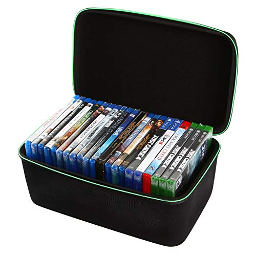 2TUFF Blu-ray Case and Video Game Case - Bluray DVD Case Holder Organizer for up to 22 Blu Ray or 18 Xbox PS3 PS4 Games - Travel Storage Case for Blue Ray DVD and Video Games with Carry Handle
