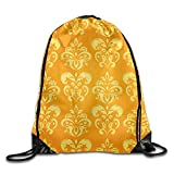 KIMIOE Mochilas Gym Large Drawstring Bucket Bag s Golden Abstract Pattern Draw Rope Shopping Travel Backpack Tote Student Camping